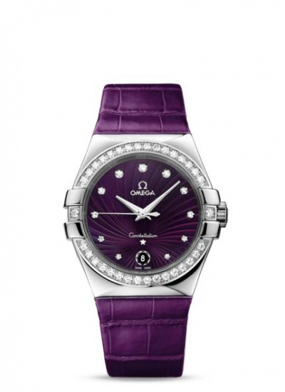 Womens omega constellation stainless steel quartz 35 mm on purple leather strap with diamond for Violet leather strap watch